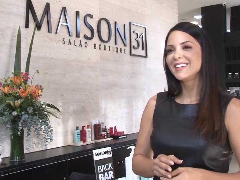 Imagem - Bruna Zanatta do salão de beleza Maison 31 dá entrevista para programa da Record News